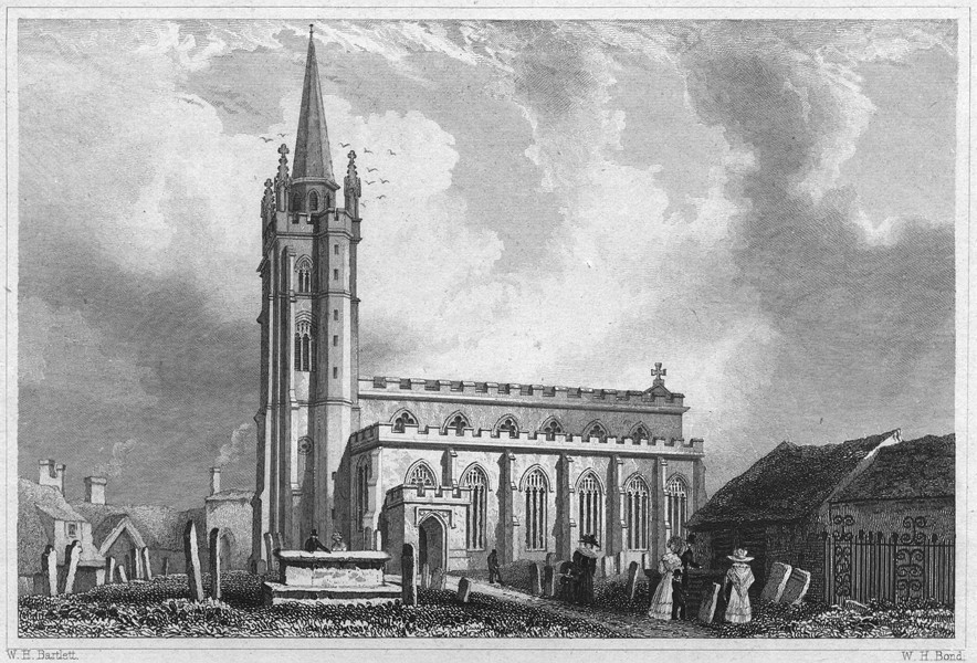 Associate Product DEVON. St. Sidwell's Church, Exeter 1829 old antique vintage print picture
