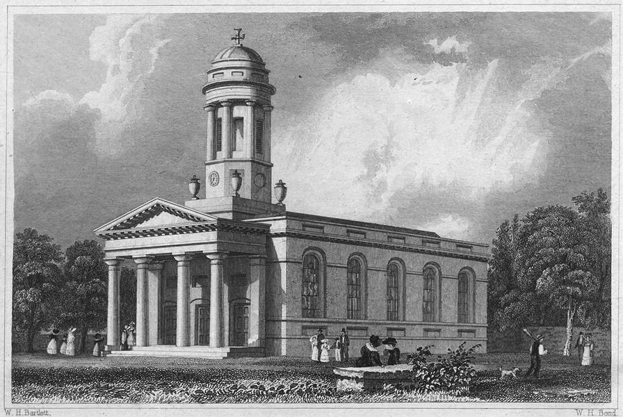 Associate Product DEVON. St. David's Church, Exeter 1829 old antique vintage print picture