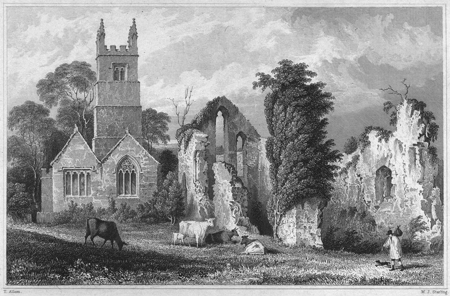 Associate Product DEVON. Frithelstoke Priory 1829 old antique vintage print picture