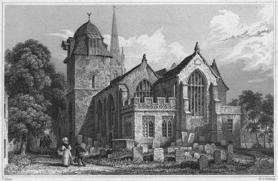 Associate Product DEVON. Great Torrington Church 1829 old antique vintage print picture