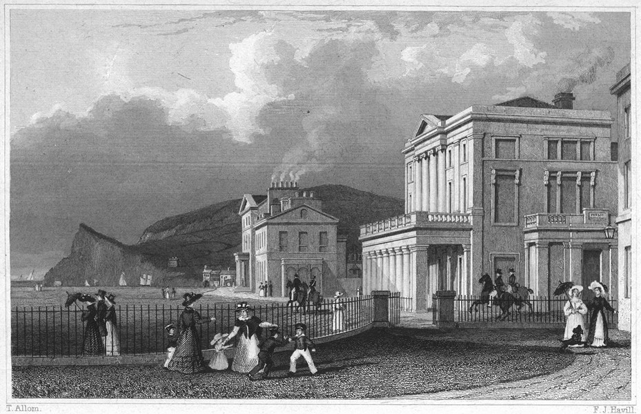 Associate Product DEVON. The Public Reading-Rooms and Cockram's Hotel, Teignmouth 1829 old print