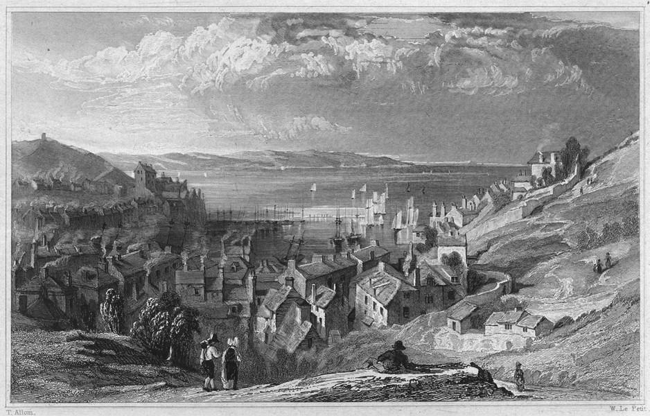 Associate Product DEVON. Brixham, looking over Torbay 1829 old antique vintage print picture