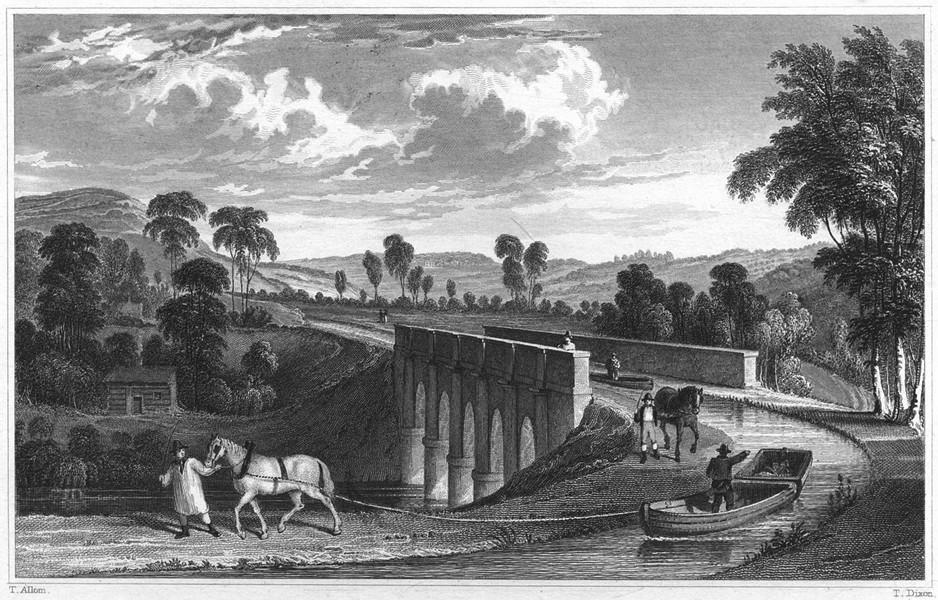 Associate Product DEVON. Rolle Canal, & Rolle Aqueduct, near Torrington 1829 old antique print