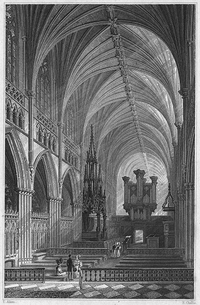 Associate Product DEVON. Interior of Exeter Cathedral 1829 old antique vintage print picture