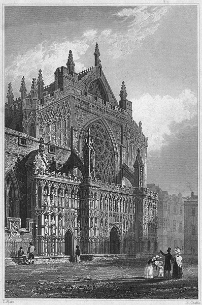 Associate Product DEVON. Entrance of Exeter Cathedral 1829 old antique vintage print picture