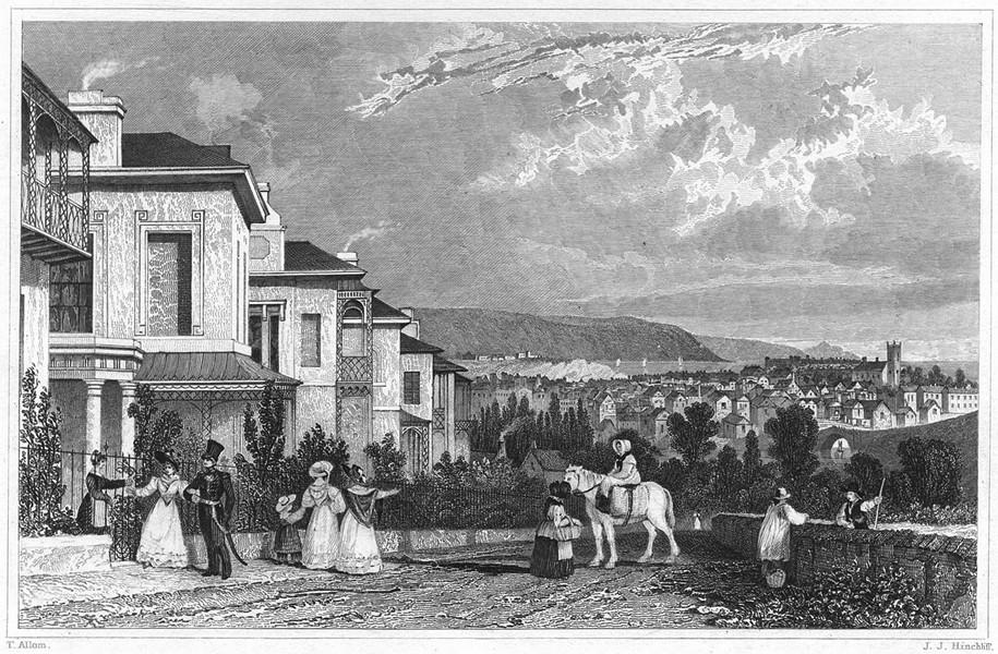 Associate Product DEVON. Albemarle Villas, Stoke - Stonehouse in the distance 1829 old print