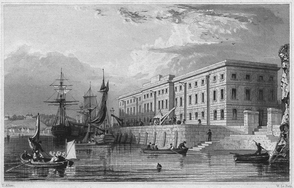 Associate Product DEVON. The New Victualling Office, Devil's Point, Plymouth 1829 old print