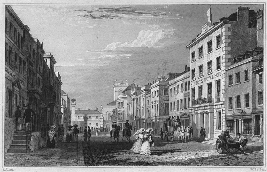 Associate Product DEVON. Entrance to the Dock Yard, Fore Street, Devonport 1829 old print