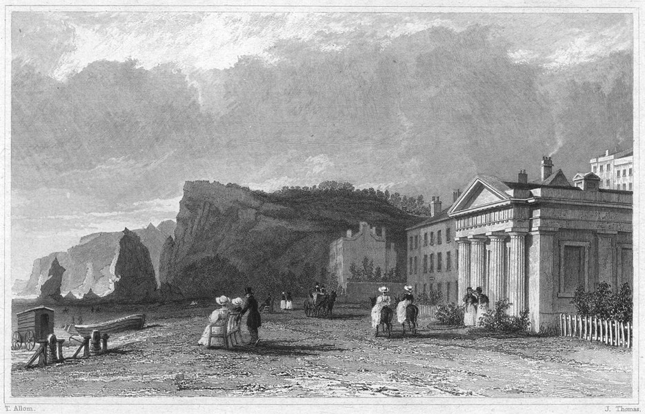 Associate Product DEVON. The Baths on the beach, Dawlish 1829 old antique vintage print picture