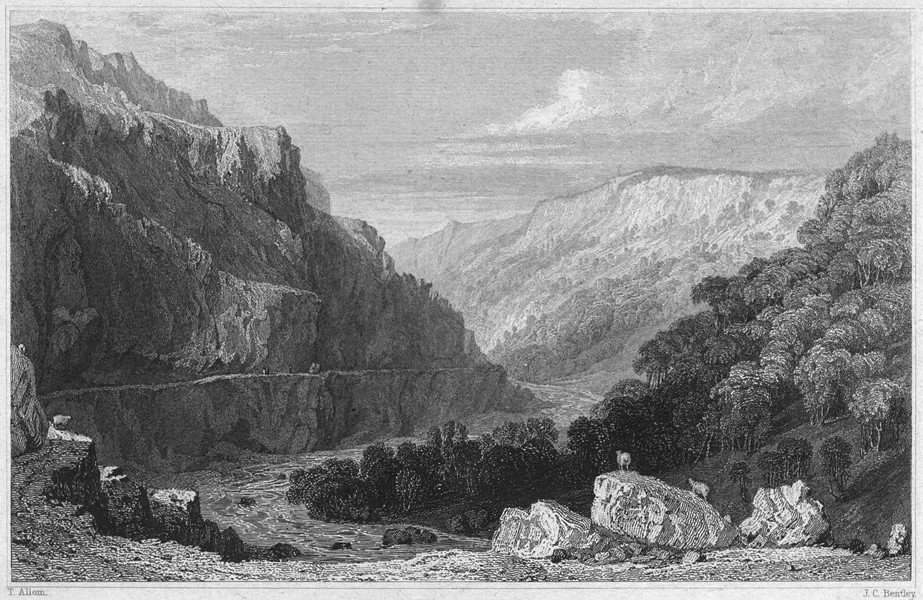Associate Product DEVON. Valley of Linmouth (Lynmouth), North Devon 1829 old antique print