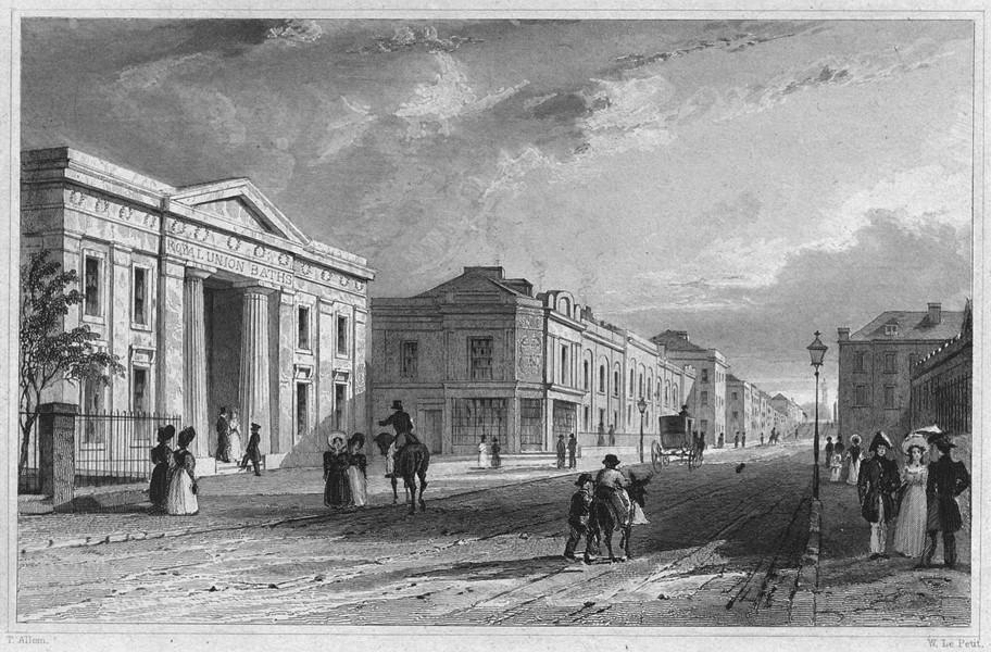 Associate Product DEVON. Royal Union Baths, Plymouth 1829 old antique vintage print picture