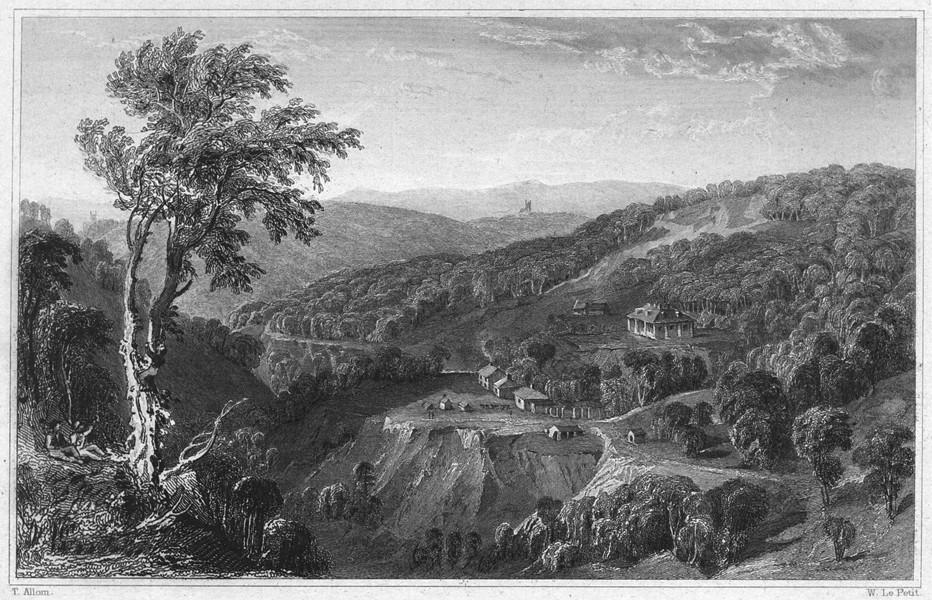 Associate Product DEVON. Carn Quarry, Bickleigh Vale 1829 old antique vintage print picture