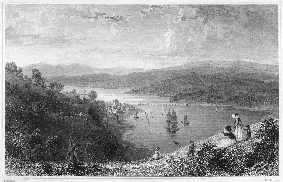 Associate Product DEVON. Teignmouth Bridge, from the Ness 1829 old antique vintage print picture