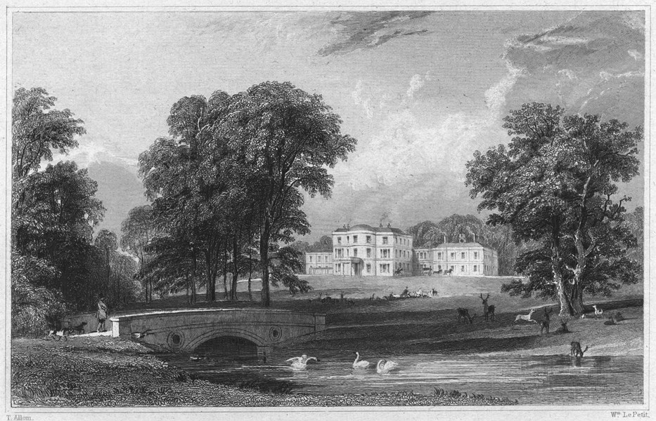 Associate Product DEVON. Bicton House (The seat of John Rolle, Baron Rolle) 1829 old print