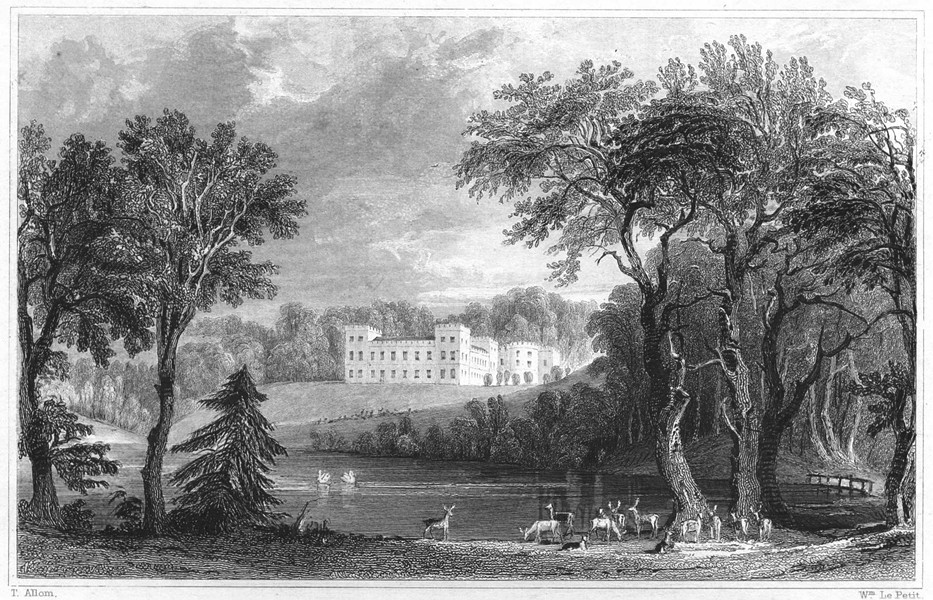 Associate Product DEVON. Ugbrooke (The seat of Lord Clifford) 1829 old antique print picture