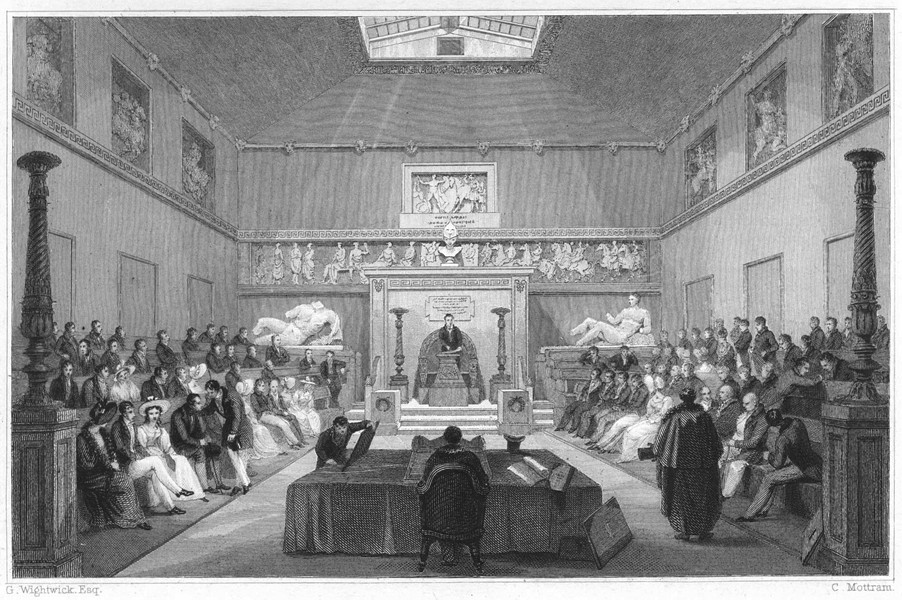 Associate Product DEVON. Interior of the Athenaeum, Plymouth 1829 old antique print picture