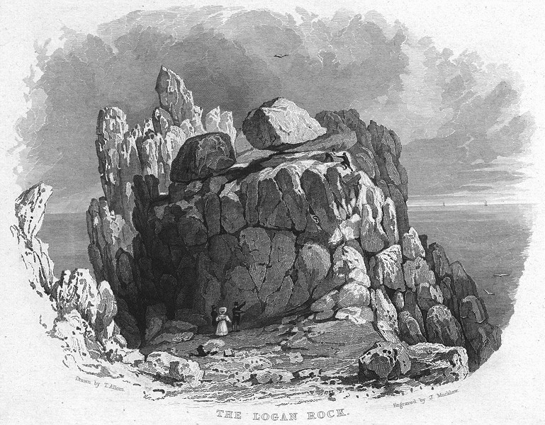 Associate Product CORNWALL. Logan Rock 1831 old antique vintage print picture