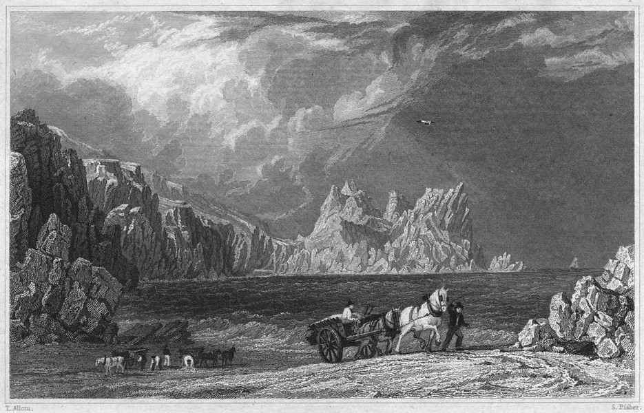 Associate Product CORNWALL. Treryn-Castle from Port Carnow Cove; Logan Rock in the distance 1831