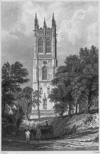 CORNWALL. Tower of Probus Church 1831 old antique vintage print picture
