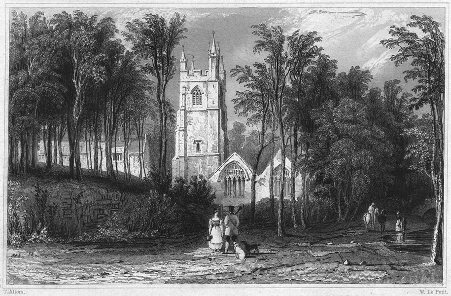 CORNWALL. St. Mawgon Church and Lanhern Nunnery 1831 old antique print picture