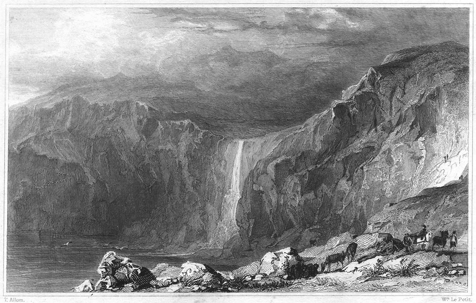 Associate Product CORNWALL. Waterfall and Stone Quarry, near Boscastle 1831 old antique print