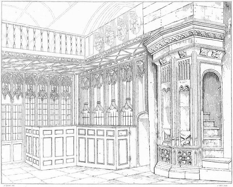 Associate Product DEVON. Rood-loft & Screen in Totnes Church 1822 old antique print picture