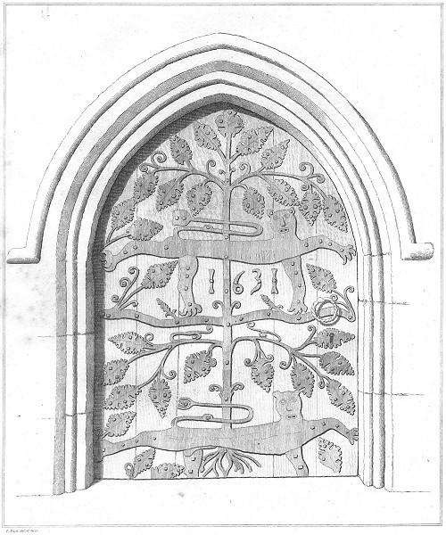 Associate Product DEVON. Door of Dartmouth Church 1822 old antique vintage print picture