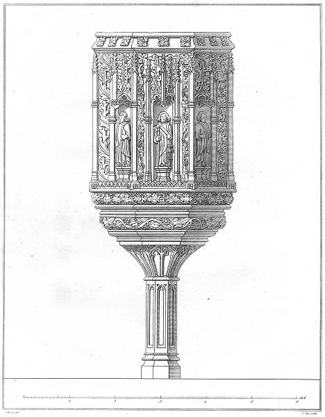 DEVON. Stone Pulpit at south Molton 1822 old antique vintage print picture