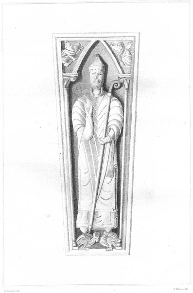 Associate Product DEVON. Monument of a Bishop at Exeter 1822 old antique vintage print picture
