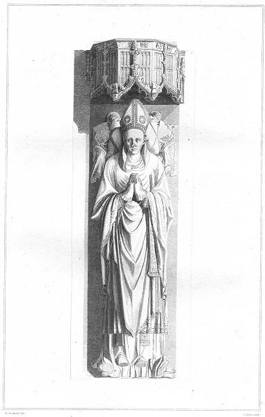 Associate Product STAFFORD EXETER. Monumental Effigies Bishop 1822 old antique print picture