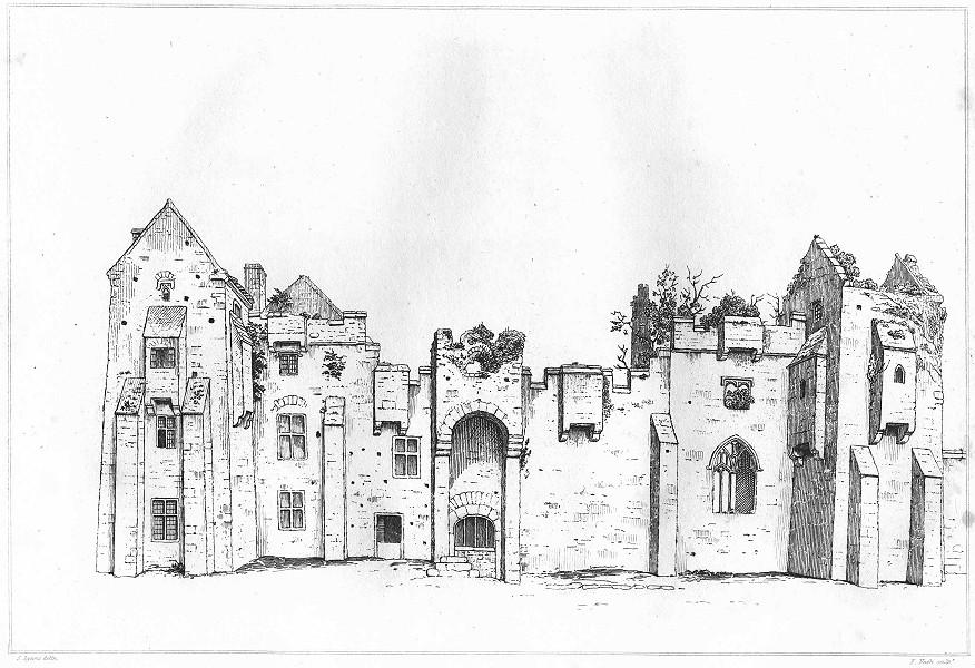 Associate Product DEVON. Compton Castle 1822 old antique vintage print picture