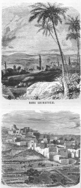 Associate Product ISRAEL. Jerusalem. Rama(Arimathea); Kirjathjearim 1870 old antique print
