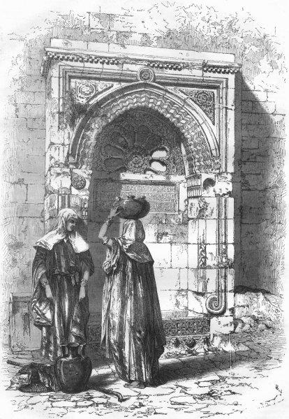 Associate Product JERUSALEM. Saracenic Fountain Council House 1870 old antique print picture