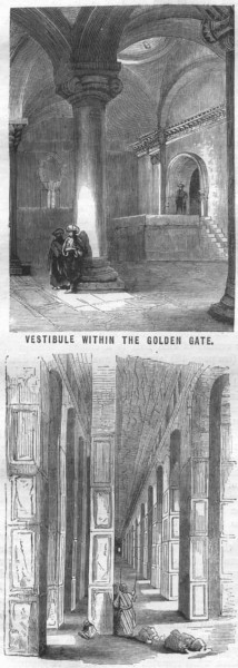Associate Product JERUSALEM. Vestibule Golden Gate; Solomon's Temple 1870 antique print