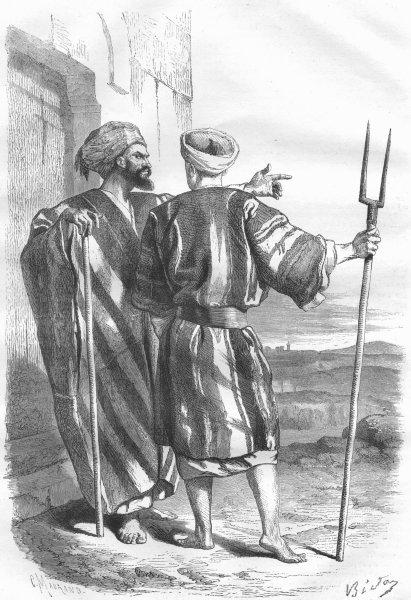 Associate Product ISRAEL. Jerusalem. Inhabitants of Bethlehem 1870 old antique print picture