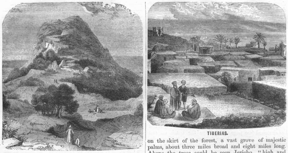 Associate Product ISRAEL. Jerusalem. Mount Tabor; Tiberias 1870 old antique print picture