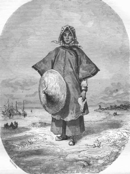 Associate Product CHINA. Chinese Boat Woman 1870 old antique vintage print picture