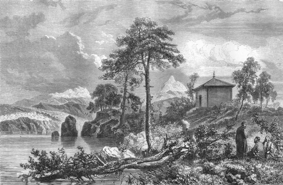 Associate Product MONGOLIA. Amoor. Buriat temple, lake Ikeugun 1870 old antique print picture