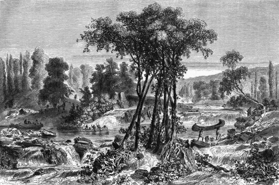 Associate Product CANADA. A Portage, Whitemud River 1870 old antique vintage print picture