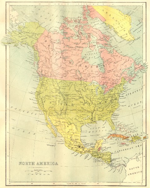 Associate Product NORTH AMERICA. Map 1870 old antique vintage plan chart