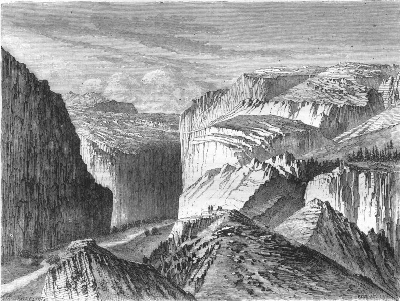 Associate Product USA. A Canon, Mountain pass, Sierra Wah 1870 old antique vintage print picture