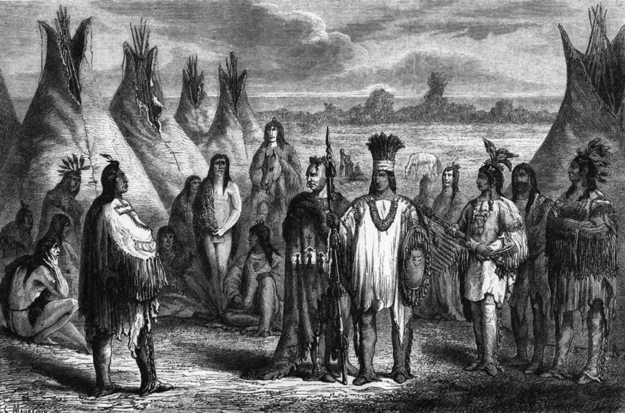 Associate Product USA. Indians 1870 old antique vintage print picture