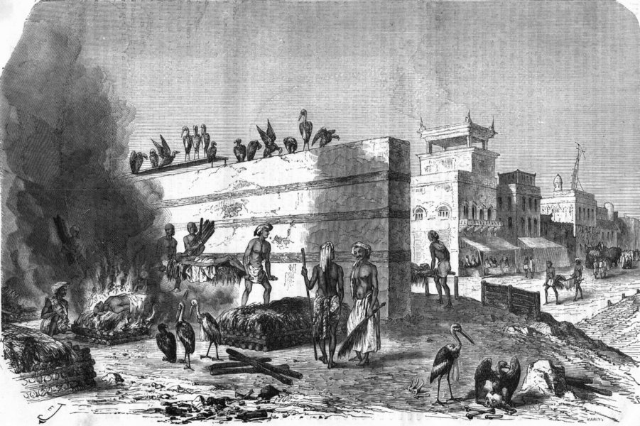 Associate Product INDIA. Cremation Ghat at Kolkata 1870 old antique vintage print picture