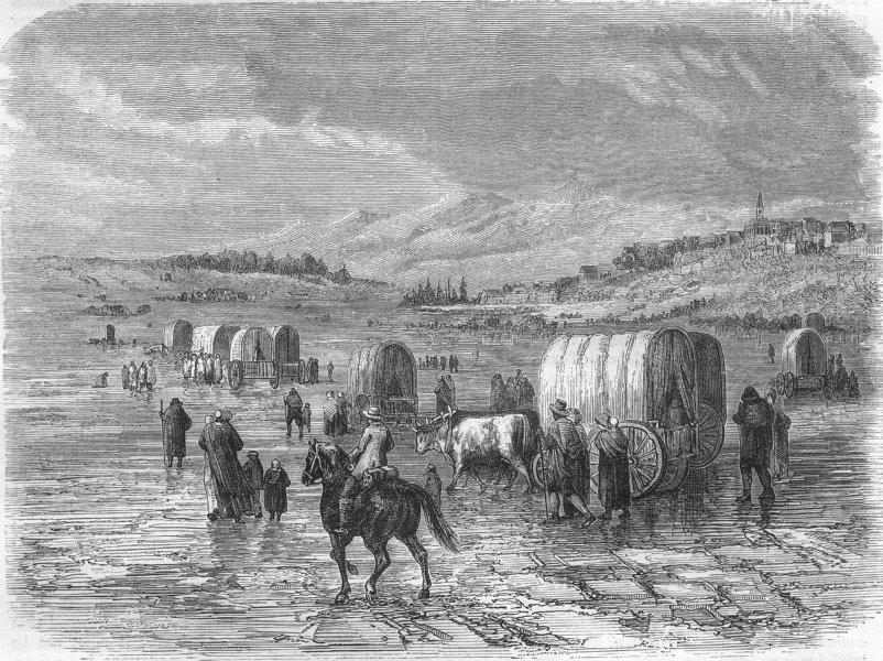 USA. Emigrants, March 1870 old antique vintage print picture