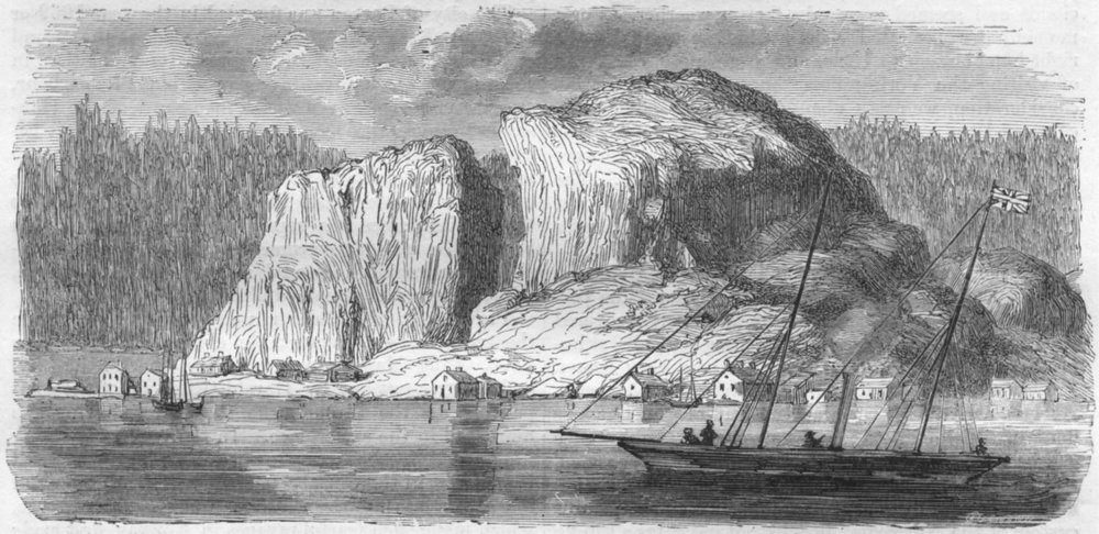 NORWAY. Kragero 1871 old antique vintage print picture