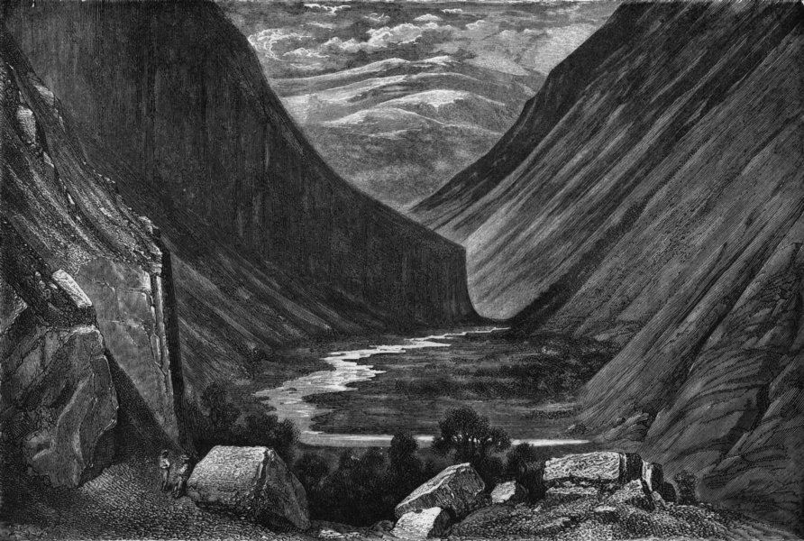 Associate Product NORWAY. Valley of Heimdal 1871 old antique vintage print picture