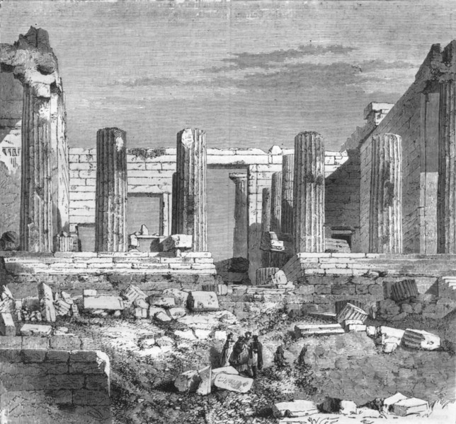 Associate Product GREECE. Athens. Probylaea 1871 old antique vintage print picture