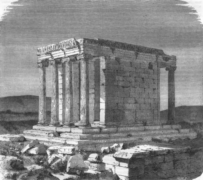 Associate Product GREECE. Athens. Temple of Wingless Victory 1871 old antique print picture