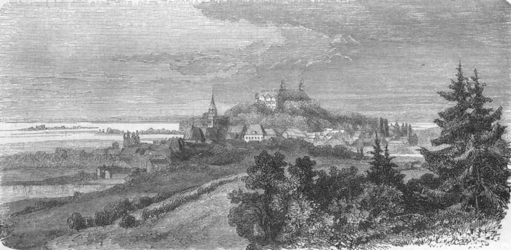 Associate Product DENMARK. Castle of Ploen, Holstein 1871 old antique vintage print picture