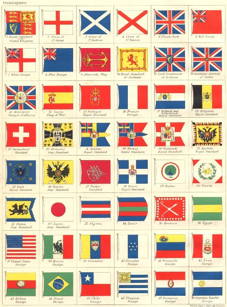 Associate Product NATIONAL FLAGS. Ensigns, Royal & Imperial Standards. JOHNSTON 1899 old map